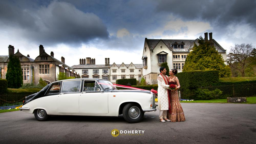 Asian Wedding Photography - Coombe Abbey with wedding car