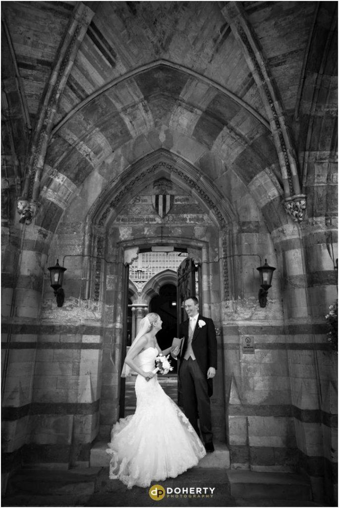 Ettington Park Wedding Bride and Groom in Entrance