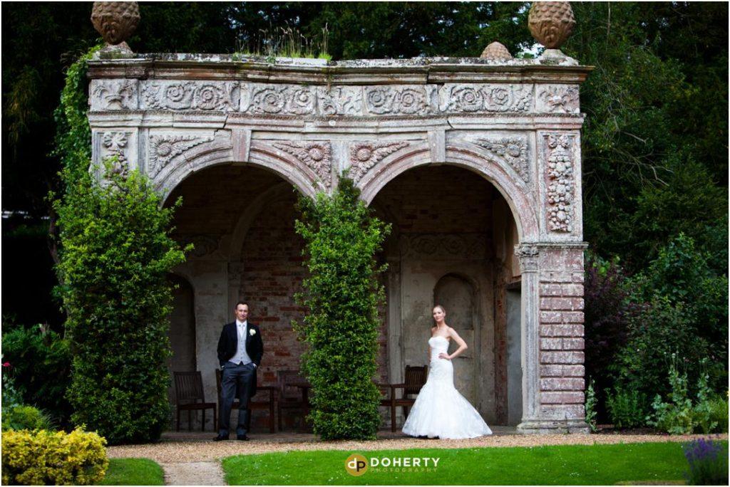 Ettington Park Wedding Couple in gardens