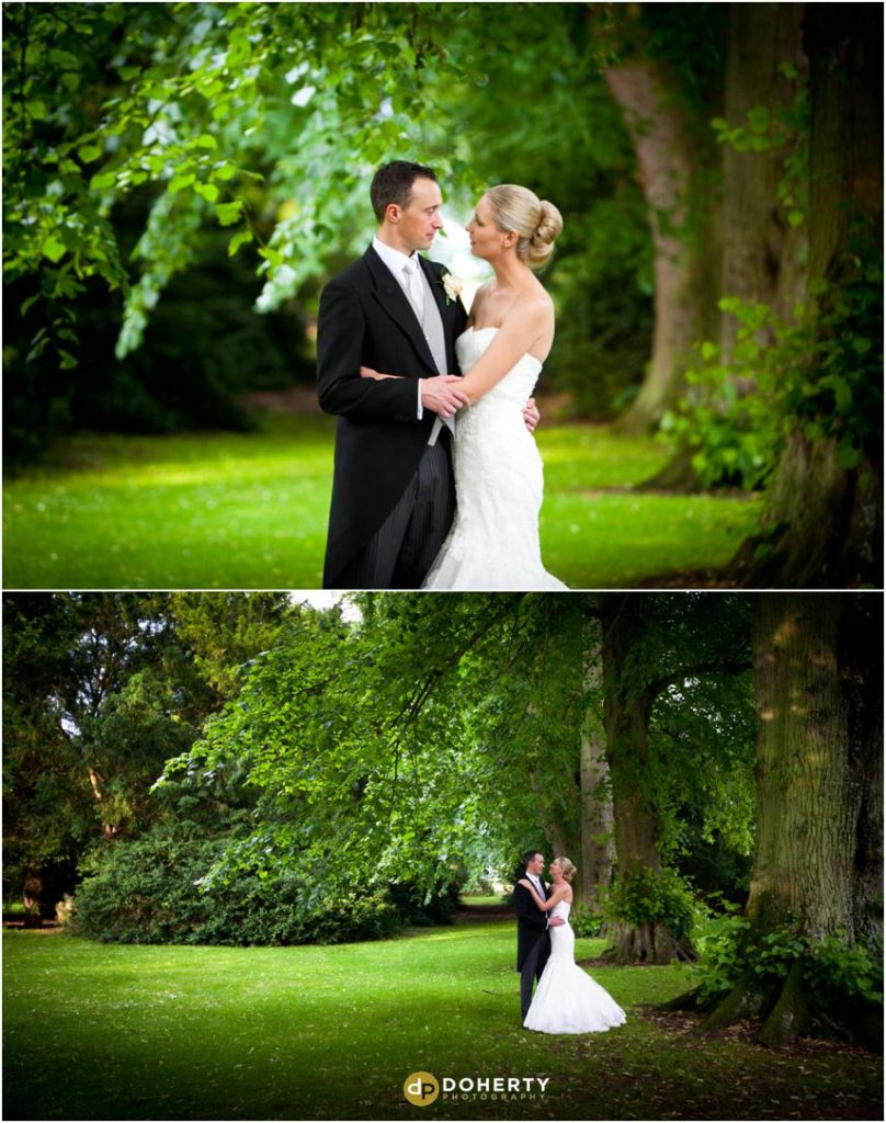 Ettington Park Wedding Bride and groom in Gardens