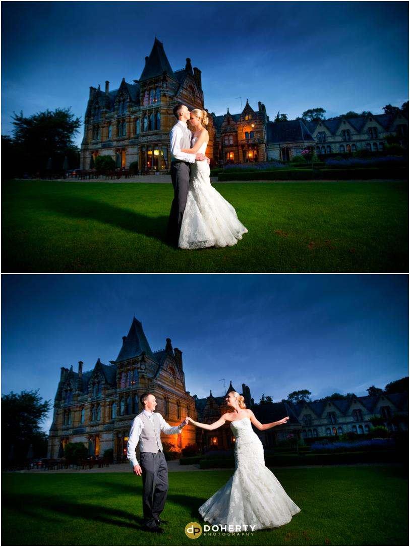 Ettington Park Wedding Night shot of bride and groom