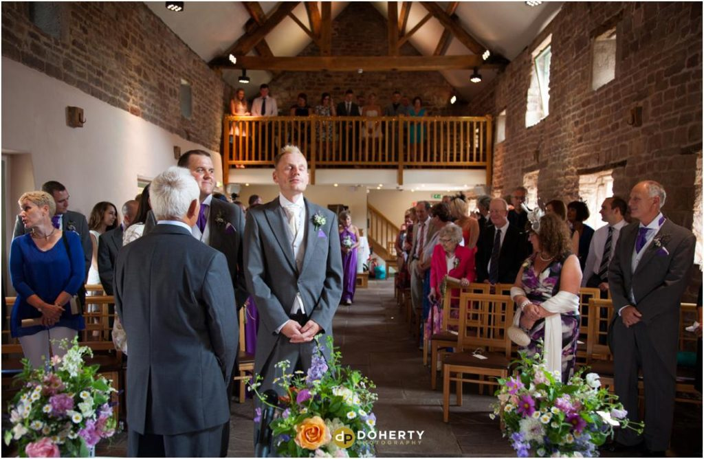 The Ashes Barns - The groom waiting for Bride