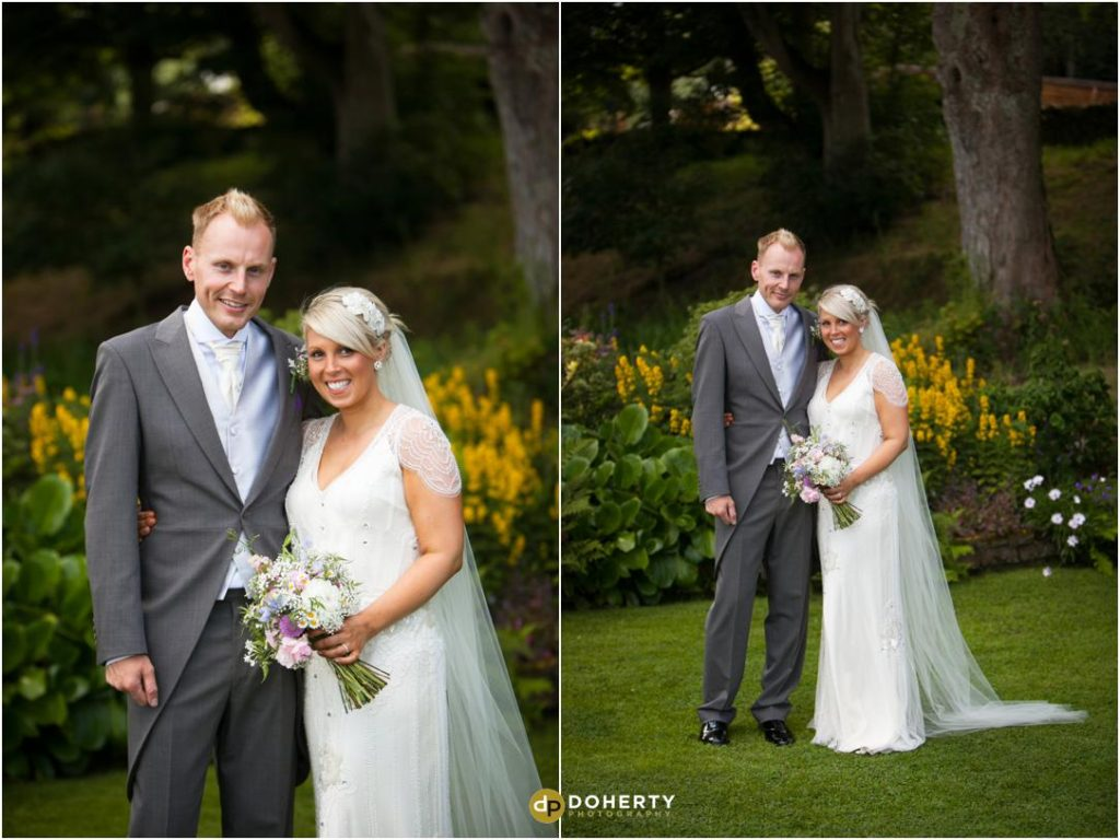 Ashes Barns Wedding Bride and Groom in Gardens