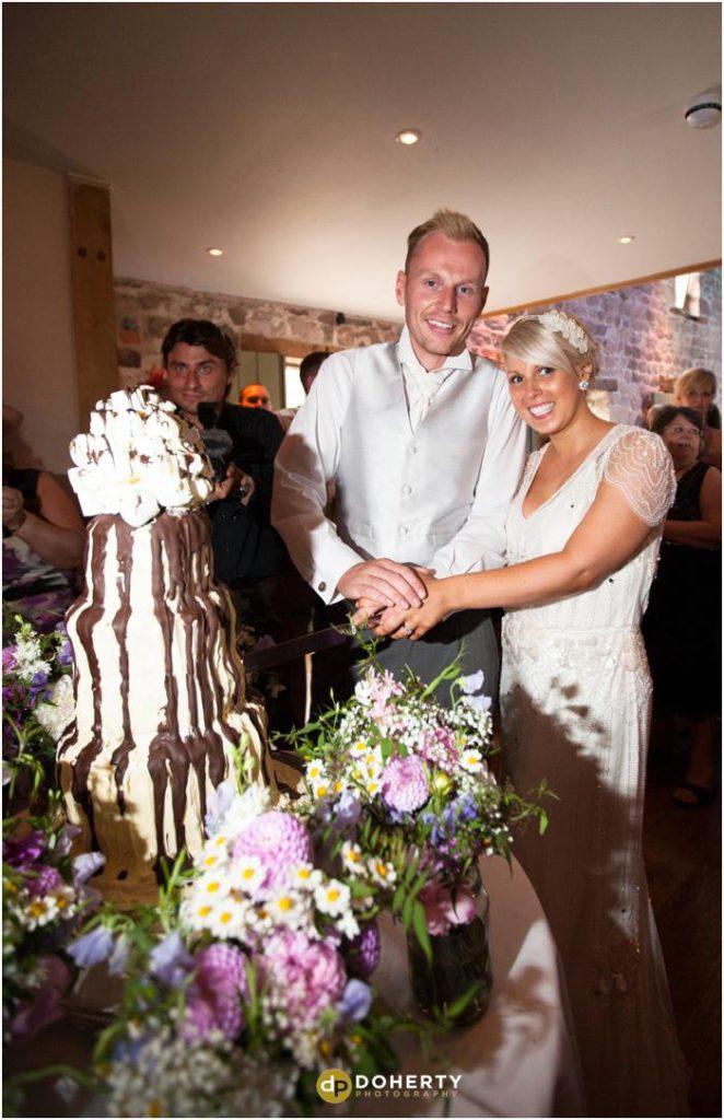 Ashes Barns Wedding Cake Cutting