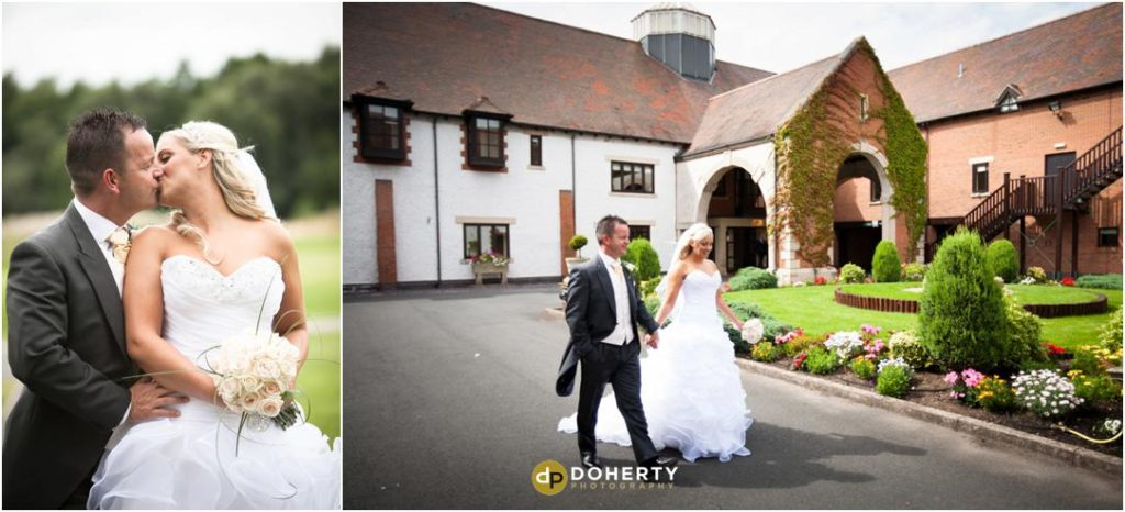 Wedding Photo of bride and groom outside entrance - Marriott Forest of Arden