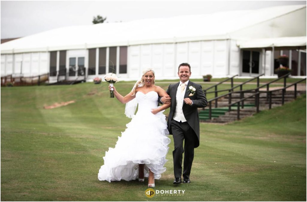 Wedding Bride and Groom outside Marquee - Marriott Forest of Arden