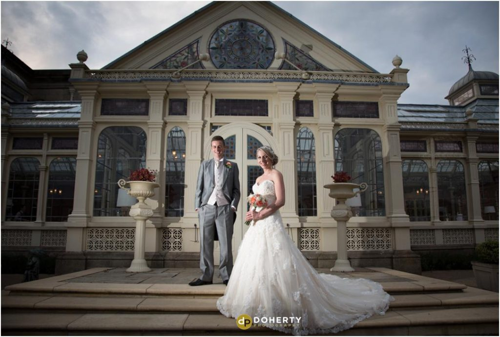 Wedding Photography at entrance to Orangery - Kilworth House