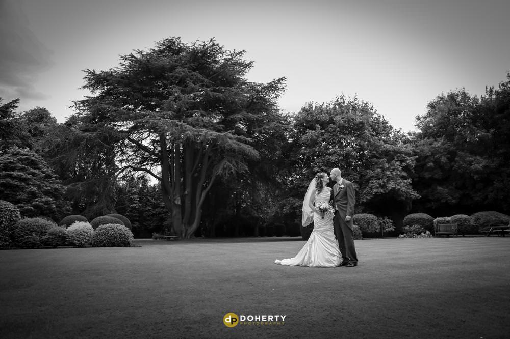 Bride and Groom in grounds at Ansty Hall Coventry