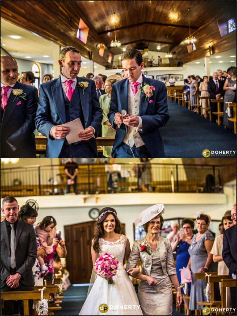 Bride walks down the aisle of church