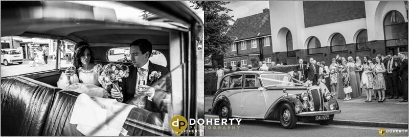 Wedding Car leaving Church