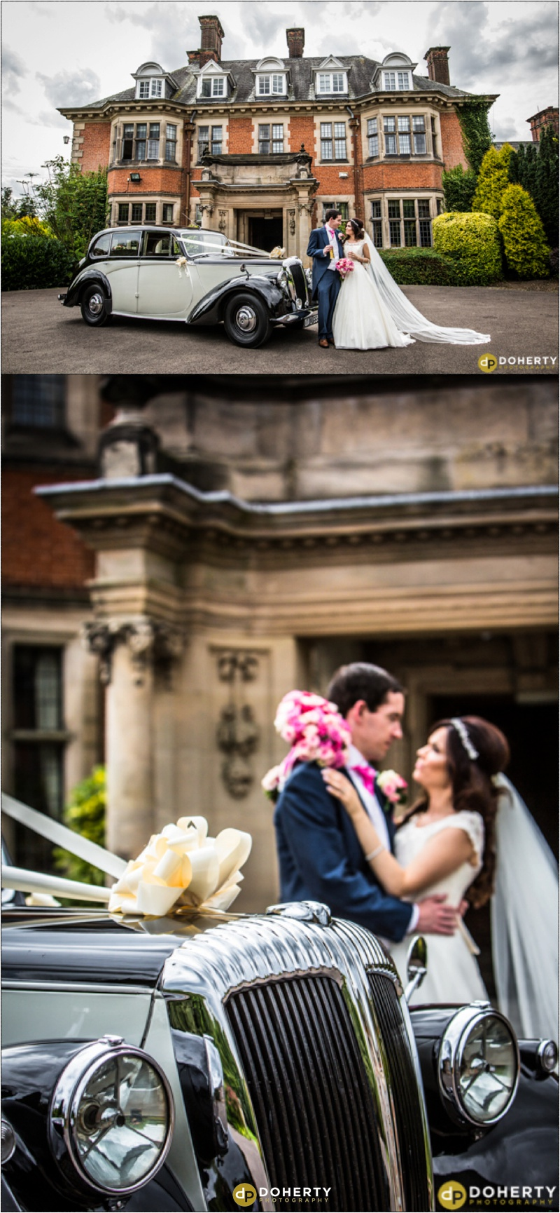 Bride and Groom with Car at entrance - Dunchurch Park