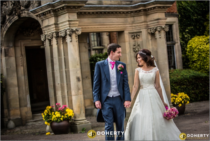 Bride and Groom walking - Dunchurch Park