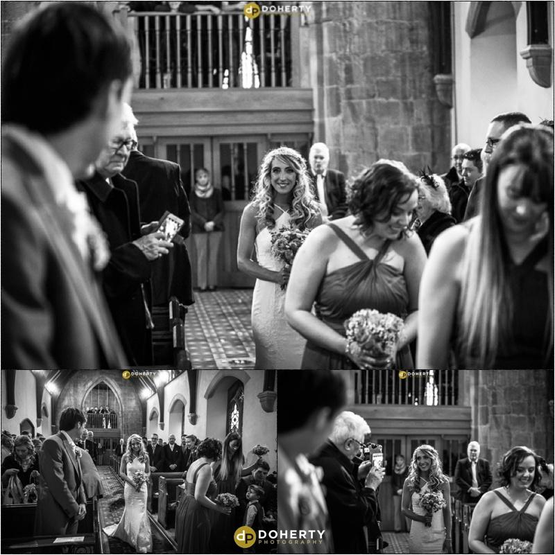 Bride walks down aisle at Church