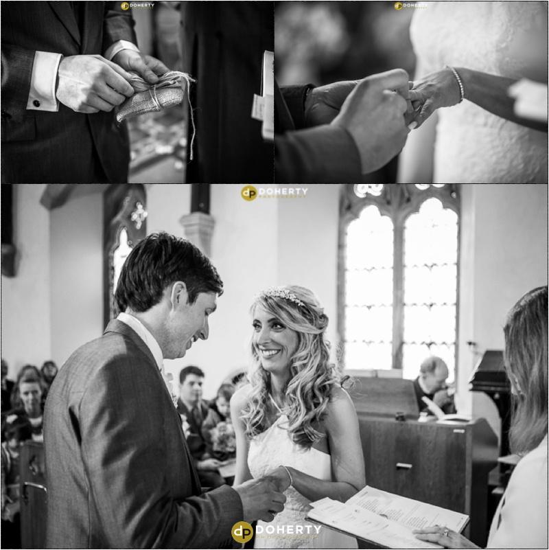 Exchange rings at church wedding