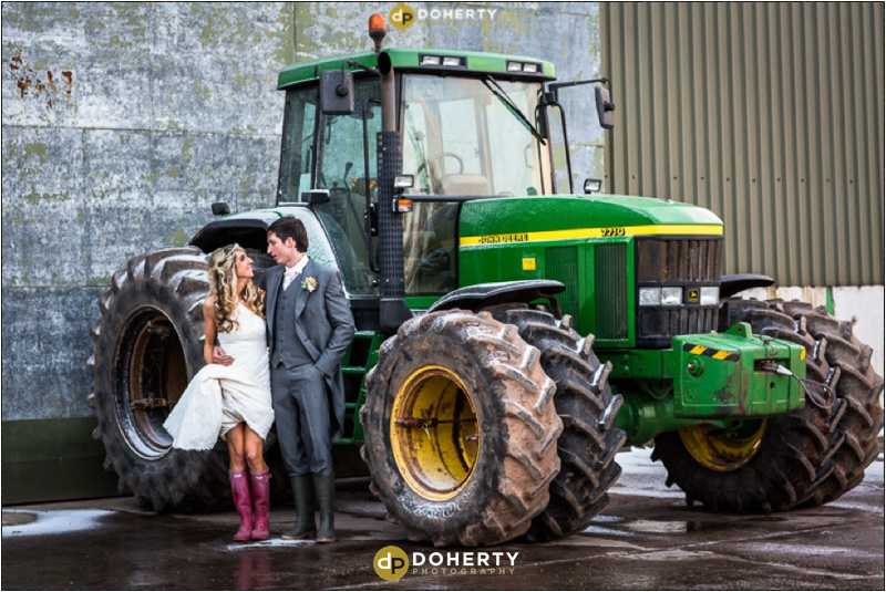 Bride and Groom with big tractor