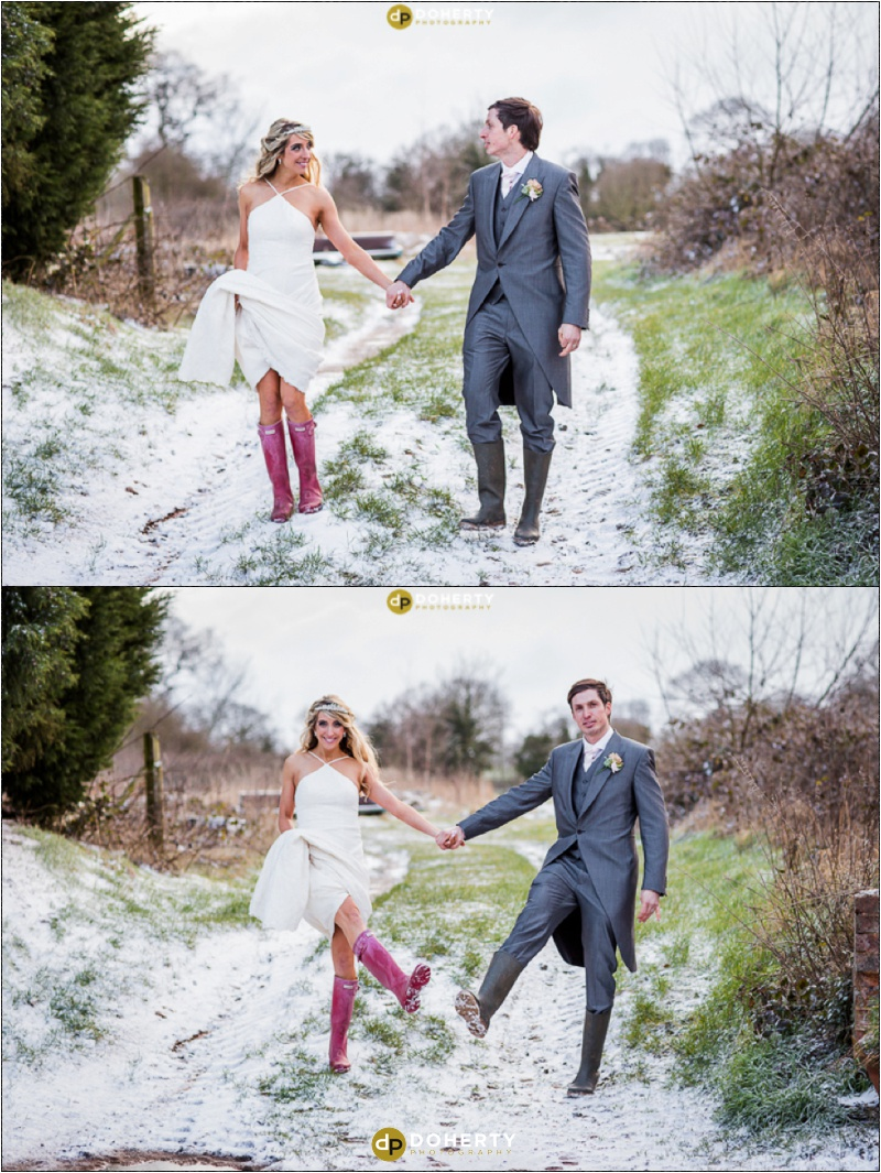 Wishaw Country Sports Wedding Bride and Groom in the snow