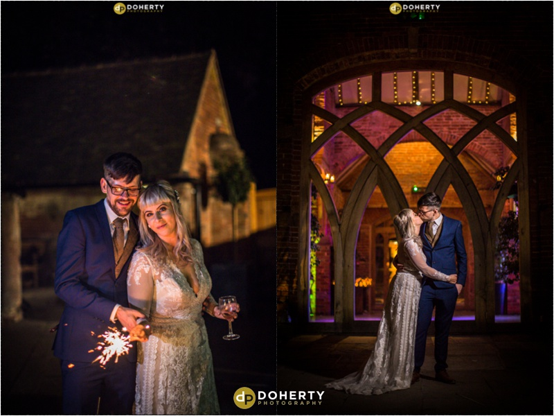 Shustoke Barn Wedding sparklers photos
