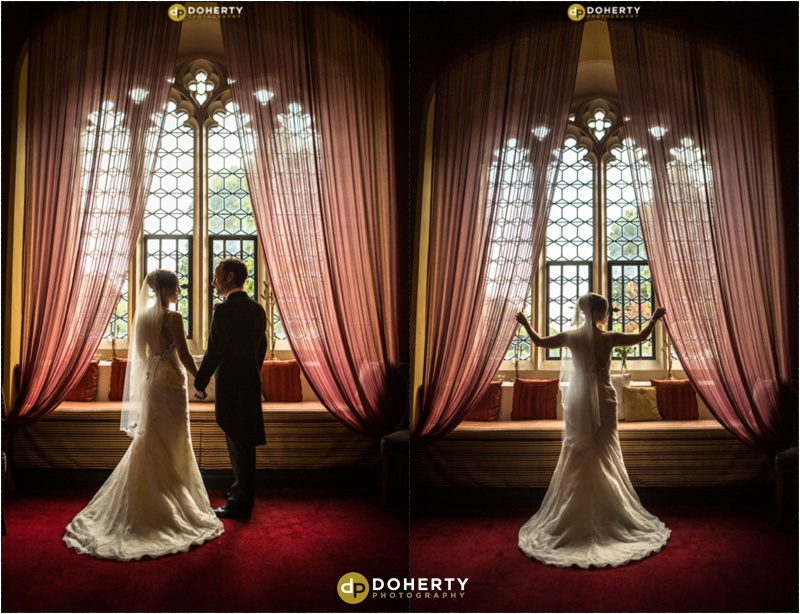 Bride and groom in feature window