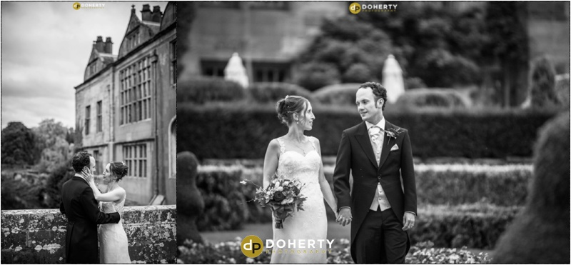 Coombe Abbey Wedding Venue in black and white