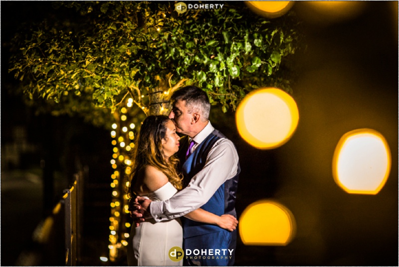 Bride and Groom at night - Warwick House