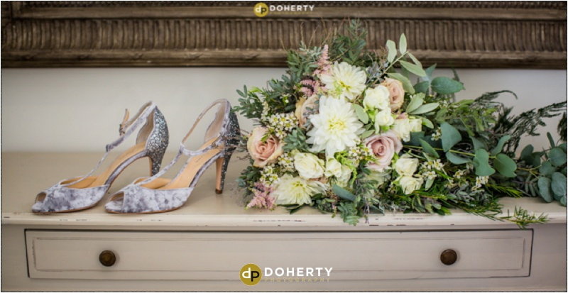 Swallows Nest Barn Wedding Shoes and Flowers