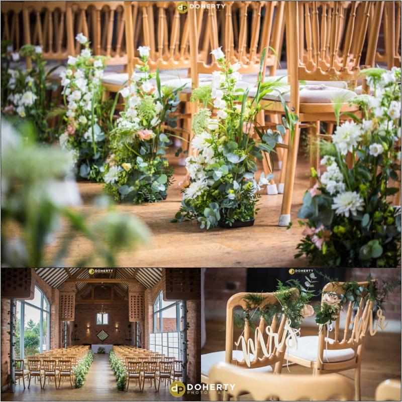 Swallows Nest Barn Wedding flowers in Barn