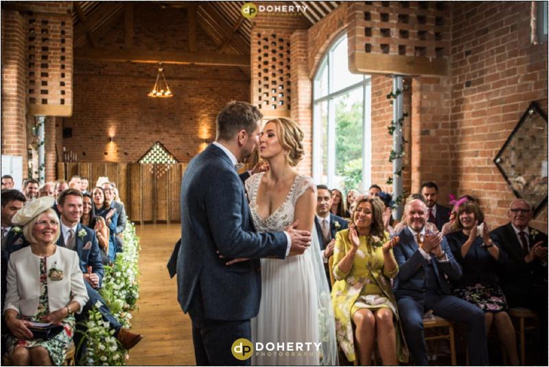 Swallows Nest Barn Wedding Kiss