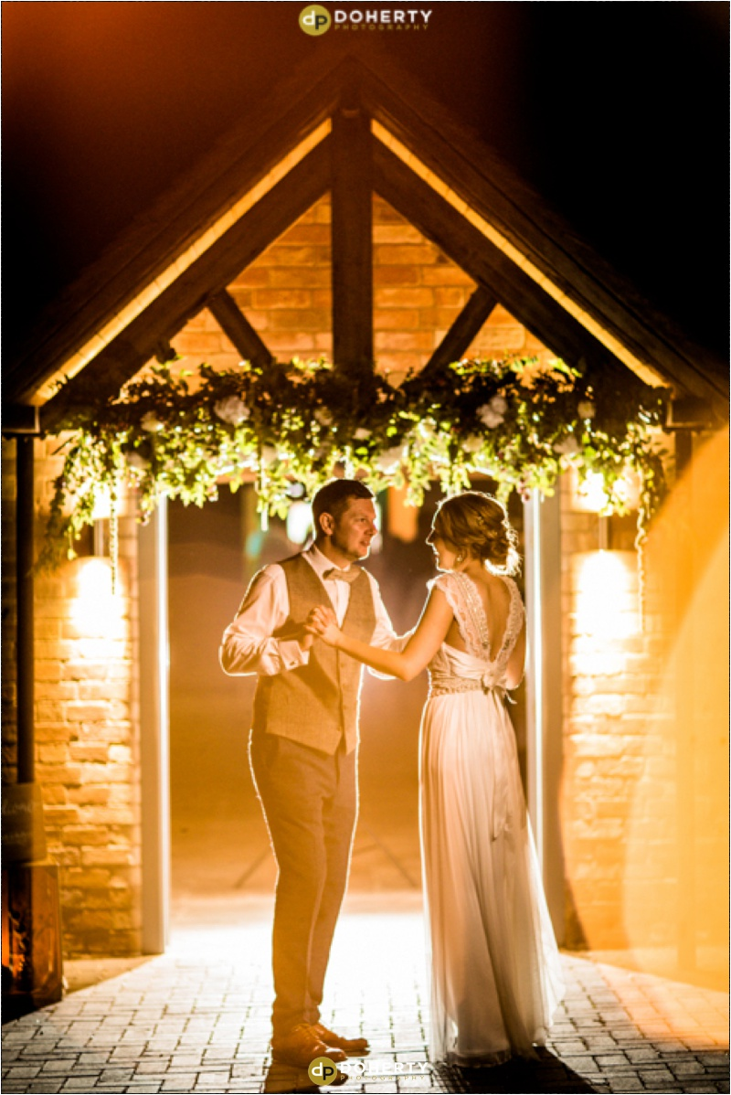 Swallows Nest Barn Wedding Couple Dancing Outside