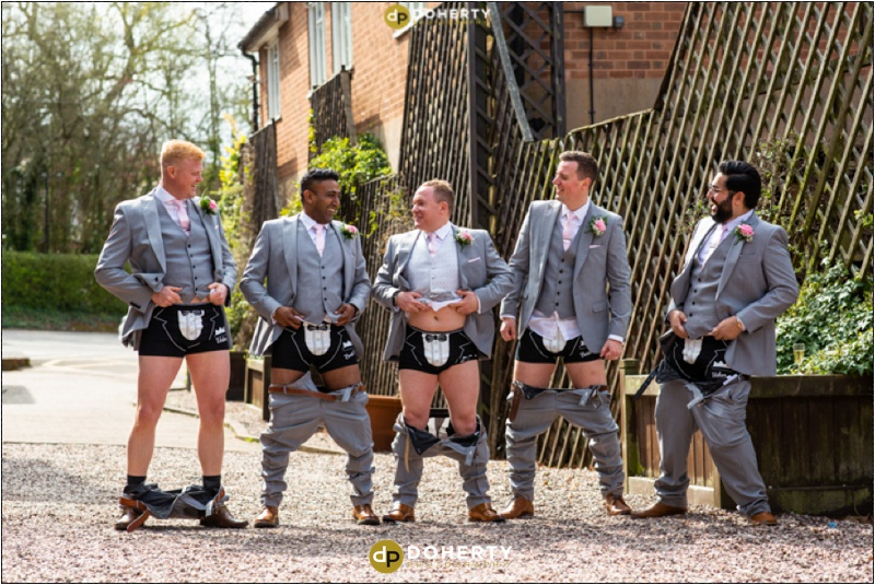 Shustoke Barn Groomsmen with trousers down