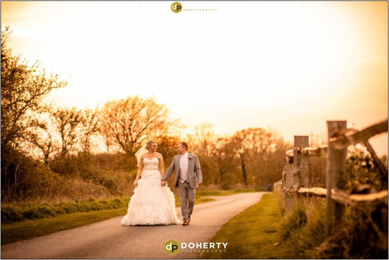 Wedding Bride and Groom at Sunset - Shustoke Barn