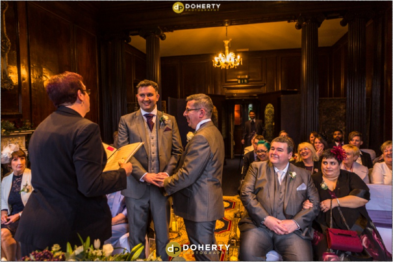 Coombe Abbey Same-Sex Wedding Ceremony in Walnut room