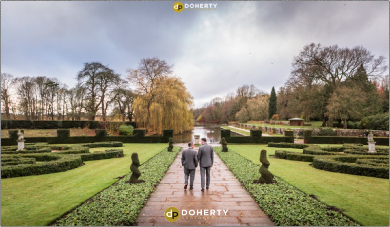 Coombe Abbey Same-Sex Wedding Couple in Gardens
