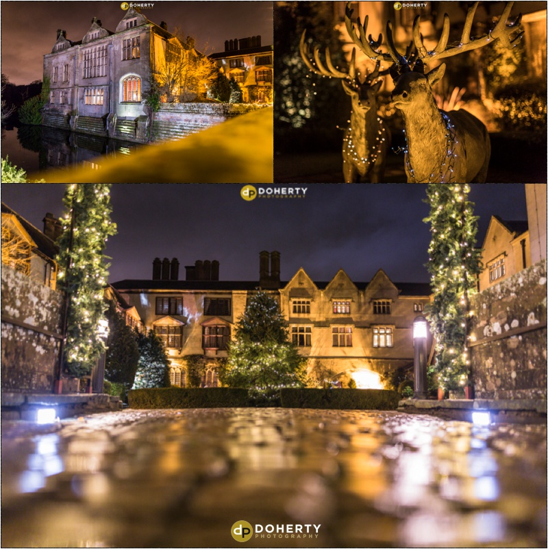 Coombe Abbey lit up at night