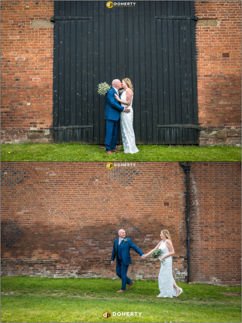 Windmill Village Bride and Groom in front of barn doors