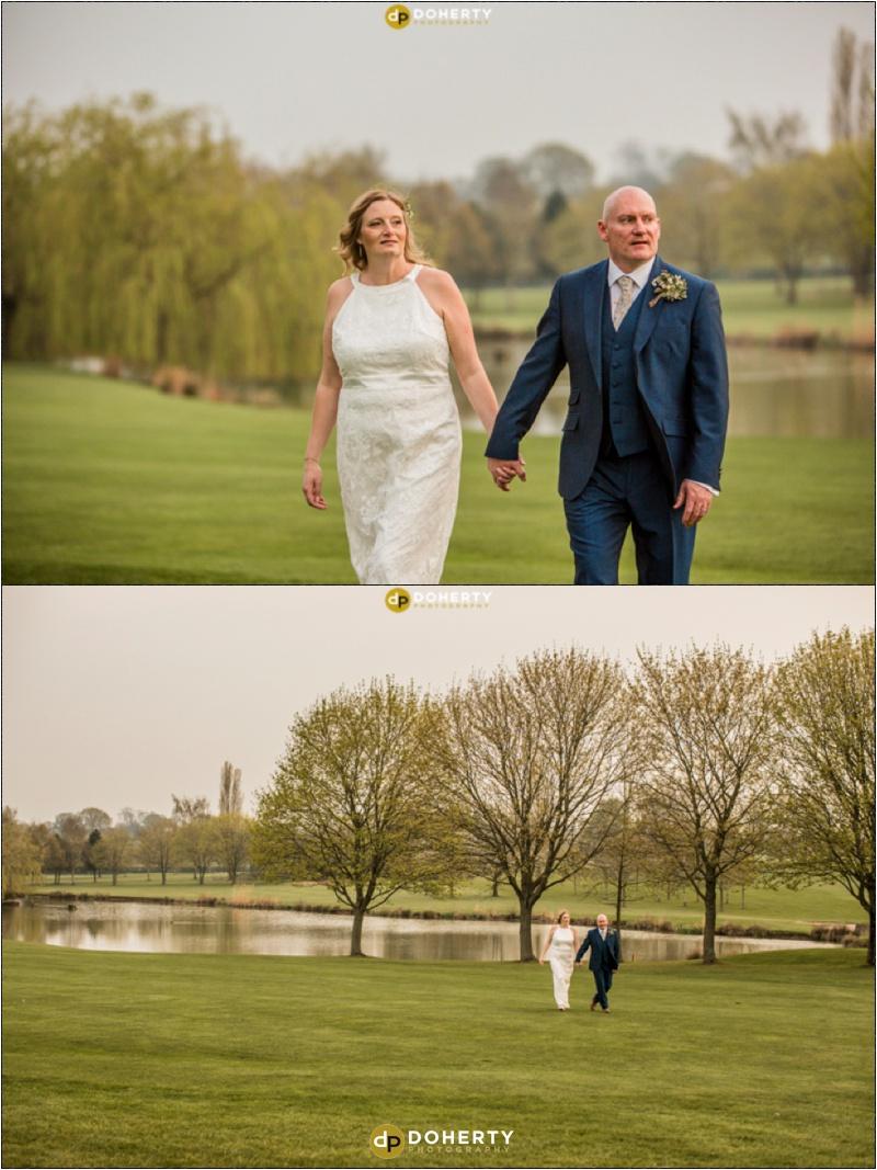 Windmill Village Hotel Wedding Bride and Groom Walking