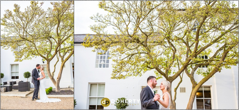 Warwick house Wedding Bride and Groom outside front of building