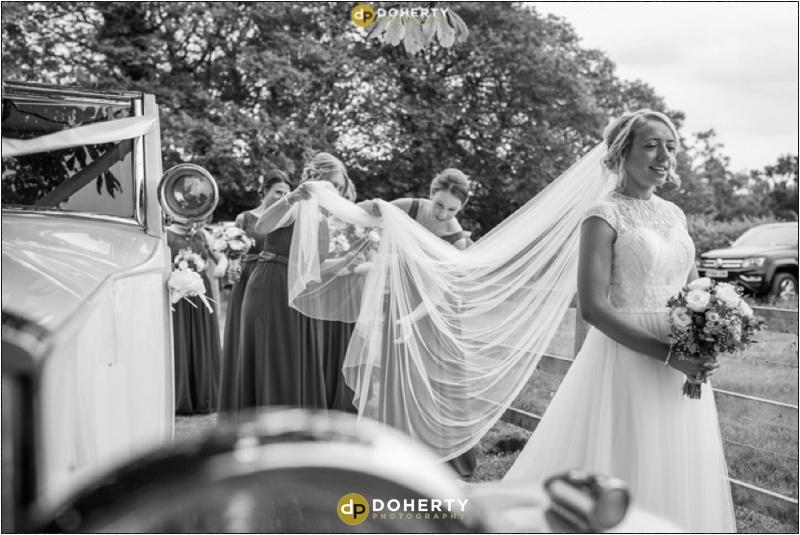 Stratford Park Hotel Wedding Bride Arrives at Church