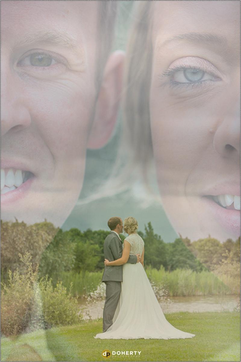 Wedding Photography double-exposure of Bride and Groom