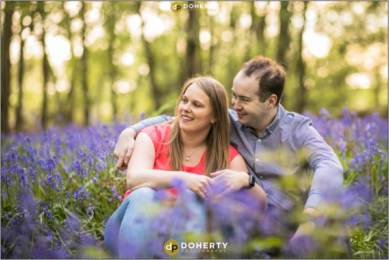 Engagement Portraits in Woods with Bluebells
