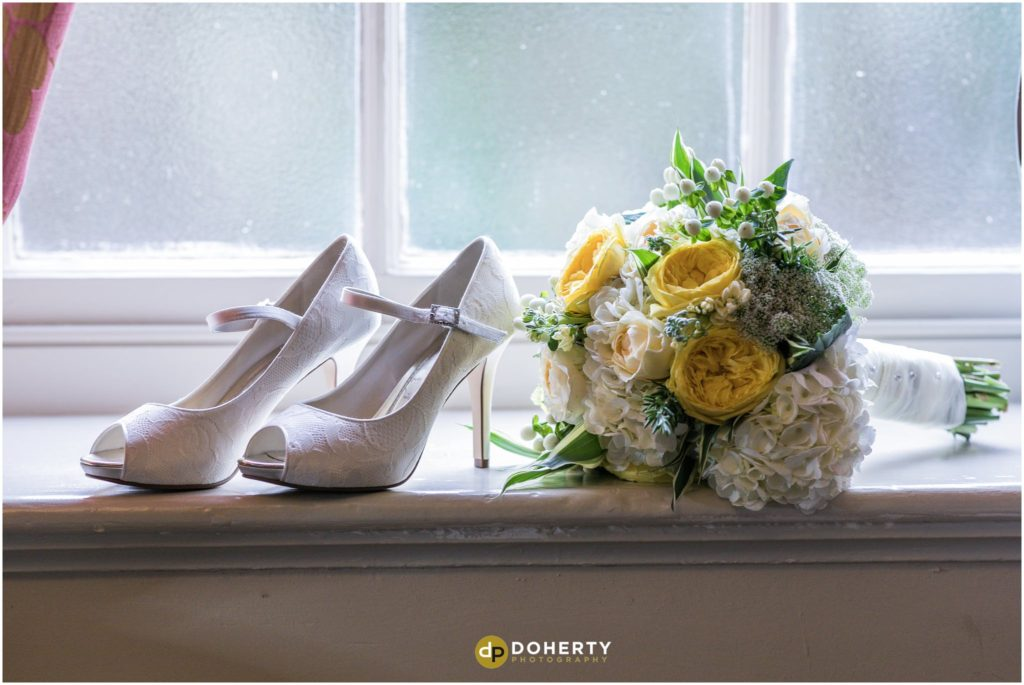 Coombe Abbey Hotel Wedding Flowers and shoes