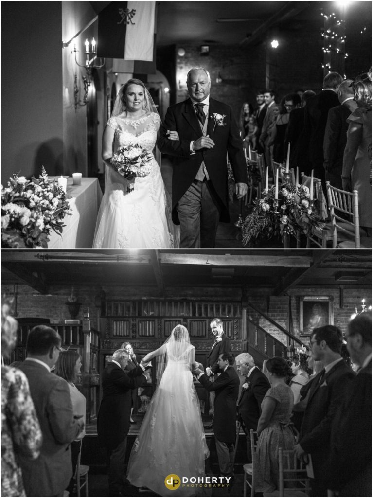Coombe Abbey Hotel Wedding Bride walk down aisle