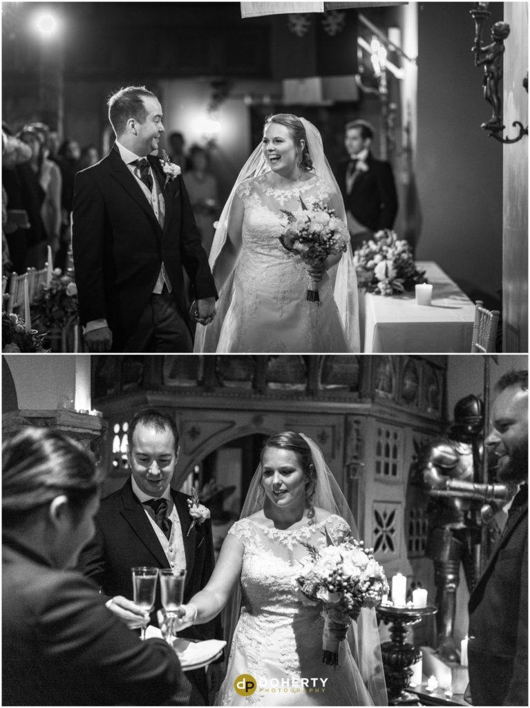 Coombe Abbey Hotel Wedding couple exit abeygate