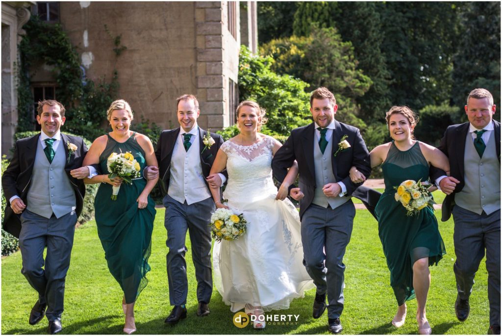 Coombe Abbey Hotel Wedding party running
