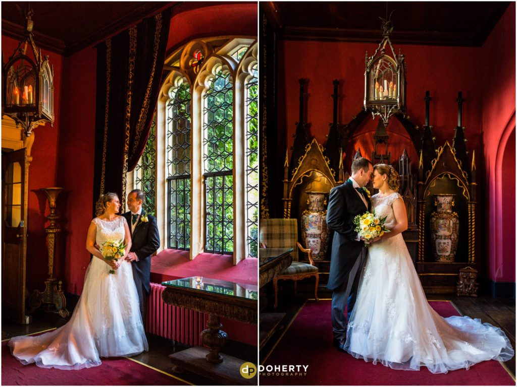 Coombe Abbey Wedding with Bride ad Groom at Window