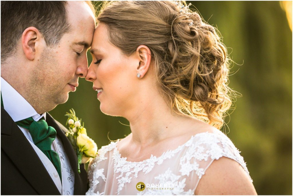 Close up of Bride and Groom at Coombe Abbey Wedding