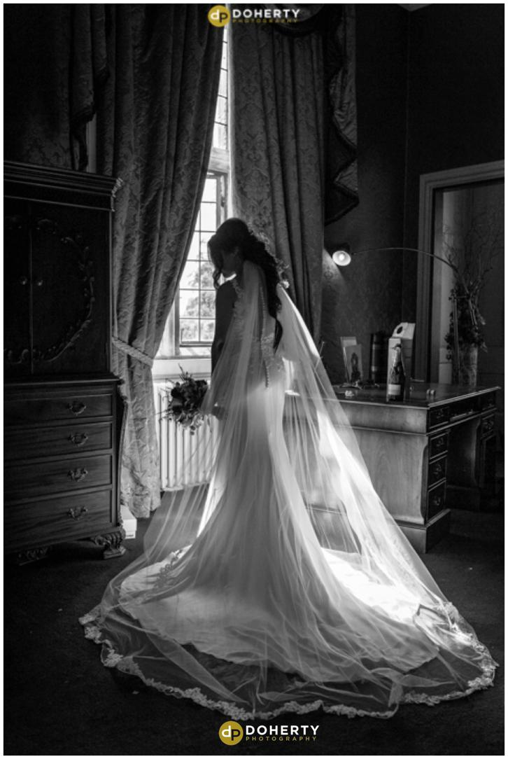 Coombe Abbey Hotel Wedding Bride at Window