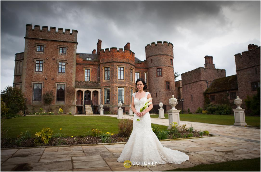 Rowton Castle with Bride in Gardens