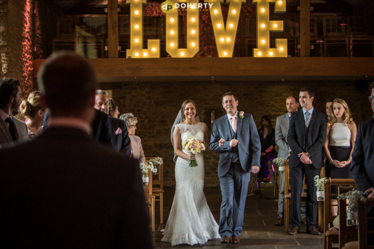 Dodford Manor Ceremony with bride walking up the aisle