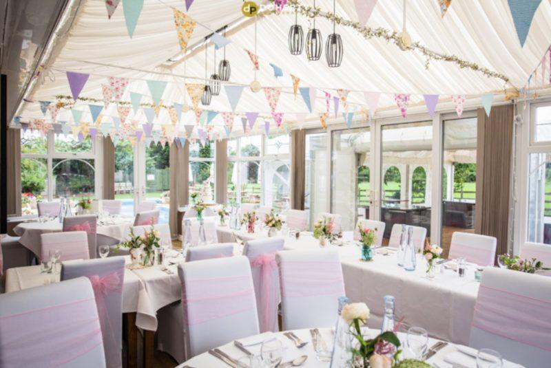 Badgers Mount Hotel wedding room set-up