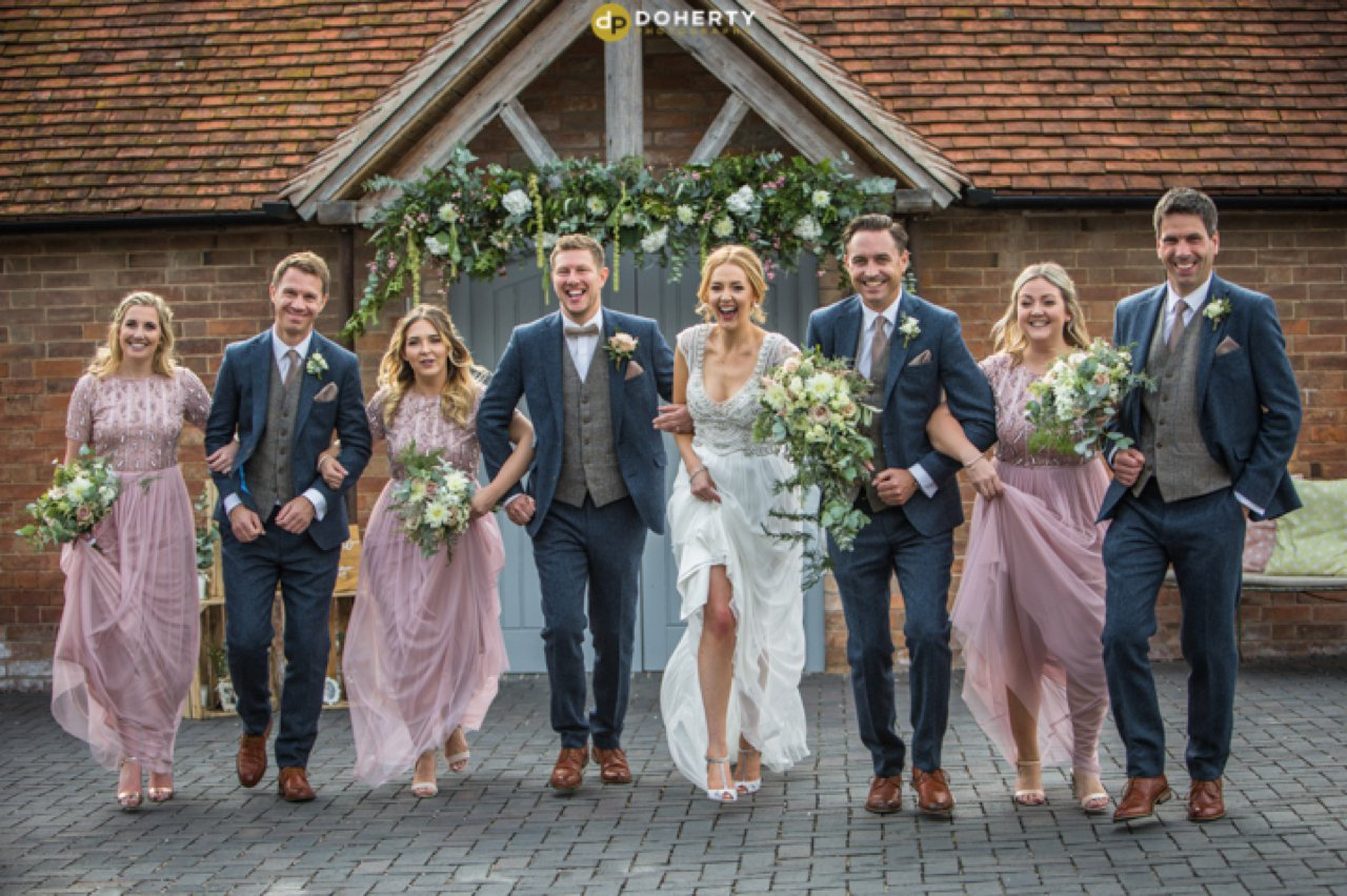 Shustoke Barn Bridal Party running